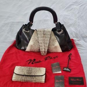 Nina Raye Genuine Crocodile Handbag & Wallet